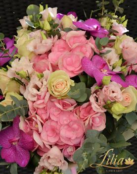 Bouquet with orchid vanda roses hydrangea and eustoma